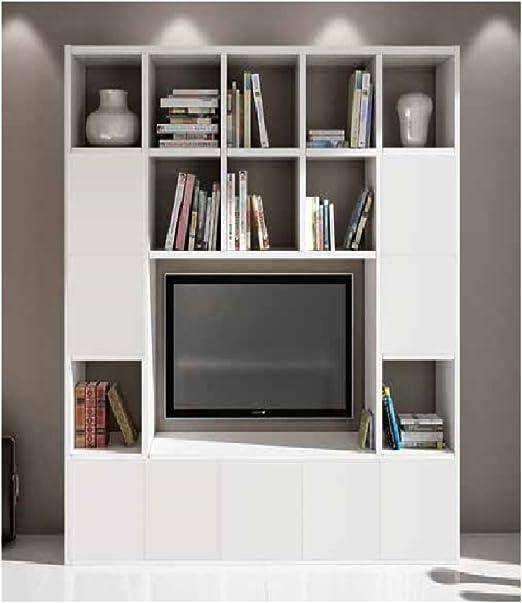 InHouse srls Conjunto de salón Compuesto por librería Mueble TV Blanco poro Abierto, Estilo Moderno, en MDF Laminado - Medidas 218 x 30 x 218 …: Amazon.es: Hogar