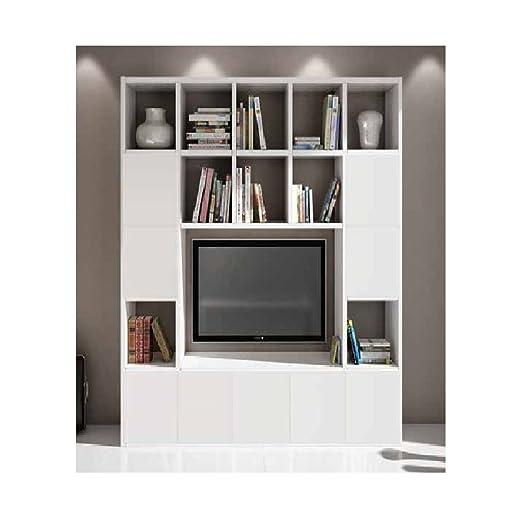 Soggiorno In Stile Moderno.Inhouse Srls Set Soggiorno Composto Da Libreria E Porta Tv Bianco