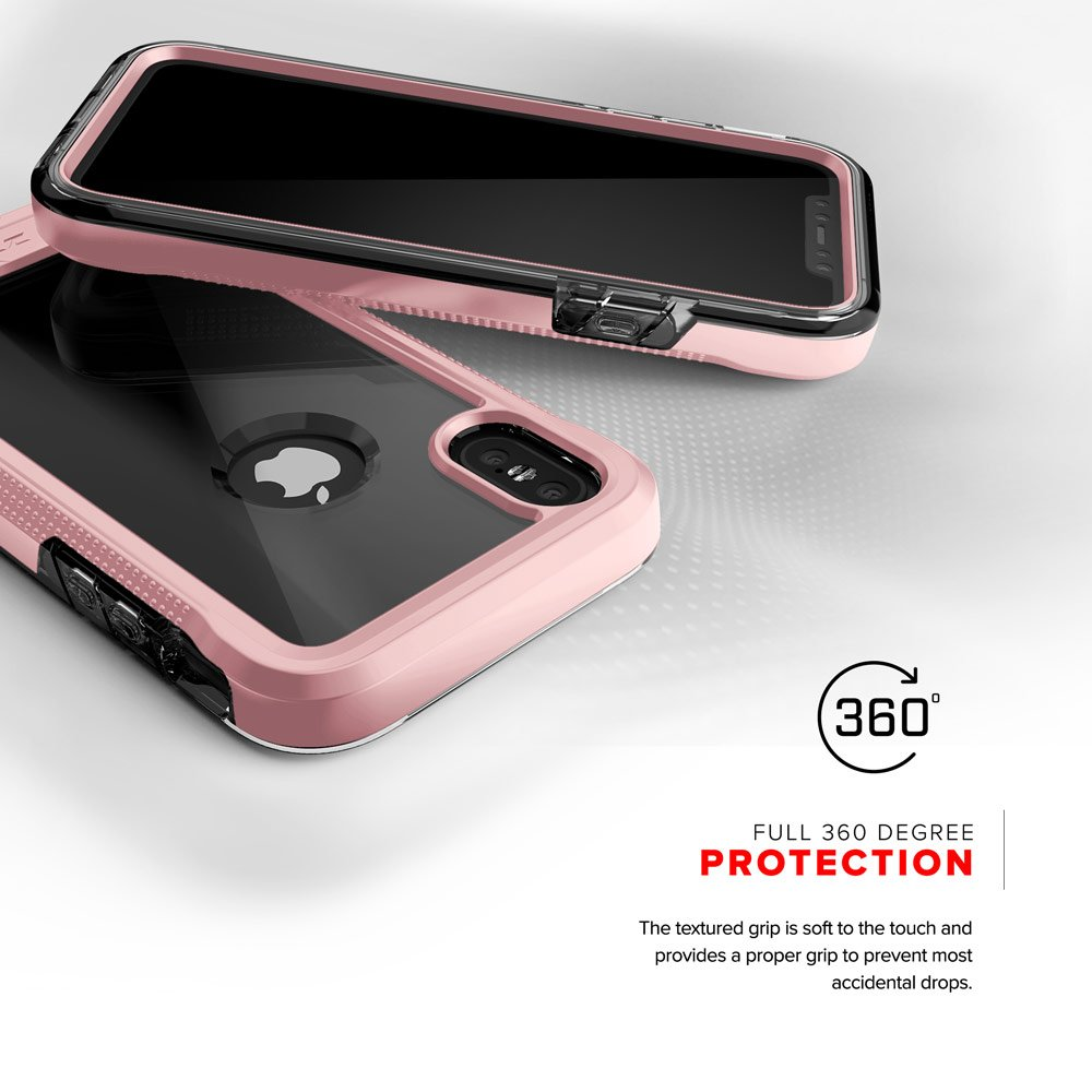 Zizo ION Series compatible with iPhone X Case Military Grade Drop Tested with Tempered Glass Screen Protector ROSE GOLD CLEAR by Zizo (Image #2)