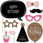Chic Happy Birthday Pink Black and Gold Birthday Photo Booth Props Kit 20 Count
