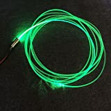 Raysell 3mm 16ft/5Meters PMMA Side Glow Optic Fiber Cable With 1.5W 12V LED Light Source illuminator Green