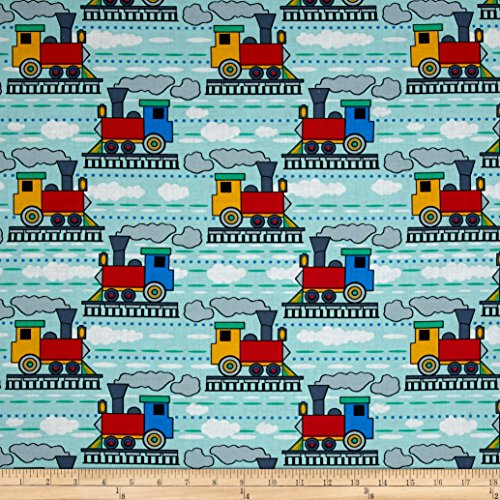 Santee Print Works Kid's Choice Trains Allover Blue Multi Fabric by The Yard,