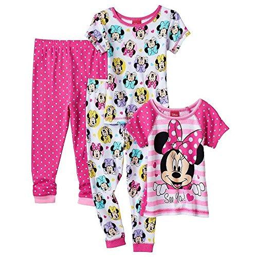 Dsny Toddler Girl's Size 4T Minnie Polka Dot 'See Ya' 4-Piece Pajama Set