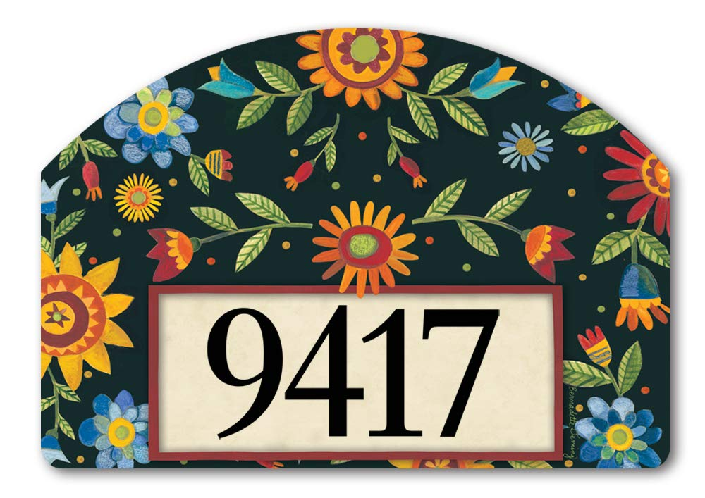 Yard DeSigns Studio M Floral Pineapple Spring Summer Decorative Address Marker Yard Sign Magnet, Made in USA, Superior Weather Durability, 14 x 10 Inches