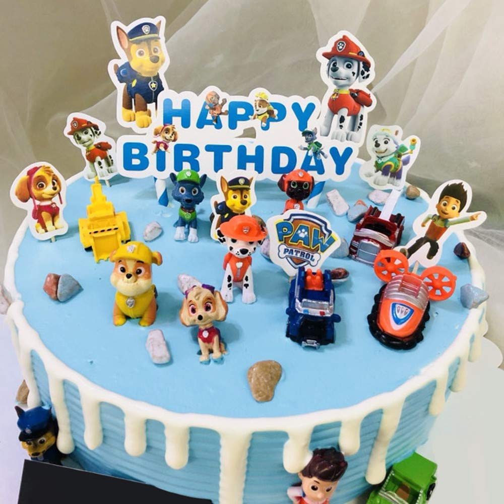 12PCS paw patrol cake ingredients, cake and cupcake decorations, paw patrol mini toys, children's birthday shower party suppli by ZCRR (Image #6)