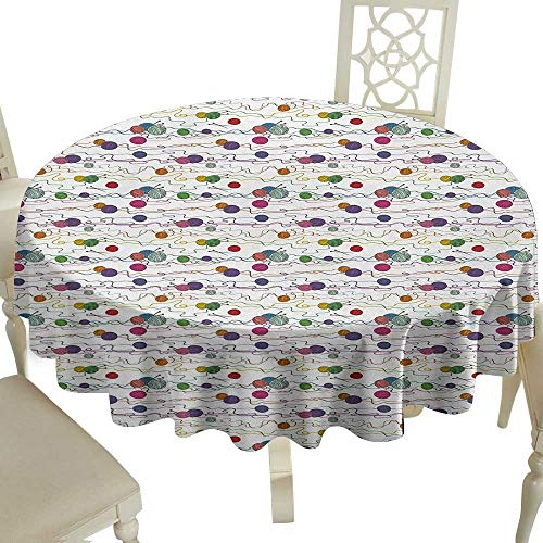 (Grid round table cloth 36 Inch Colorful,Knitting Balls Crochet Hand Crafts Stitch Yarn Hobby Theme Artsy Illustration,Multicolor Great for,family,outdoors,restaurant,Party,Wedding,Coffee Bar,traveling)