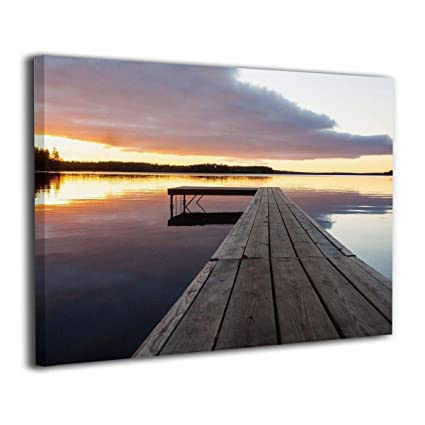 Serenity Relaxing Themed Port Pier Wooden Rustic Giclee Picture Print  Canvas Wall Art Modern Giclee Artwork