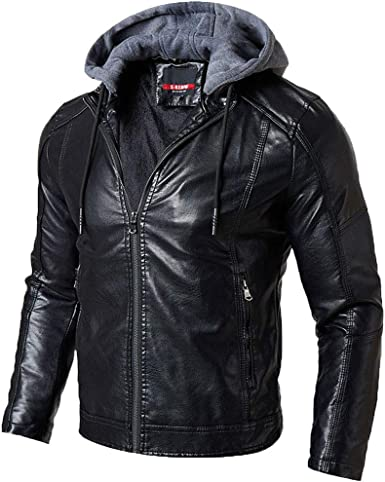 Allywit Mens Leather Jacket Stand Collar PU Mens Faux Fur Coats Motorcycle Jacket