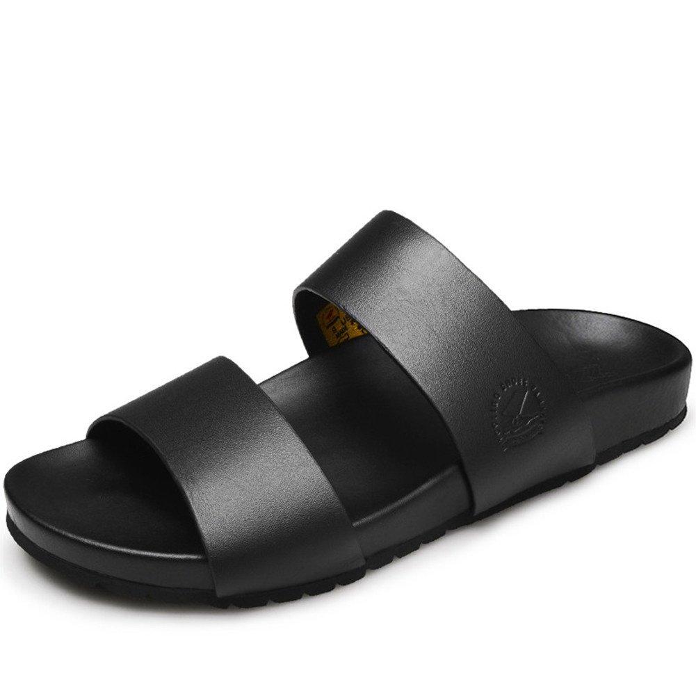 Männer Leder Strand Slipper Klassisch Offener Zeh Sandalen Größe 38 bis 43 Schwarz