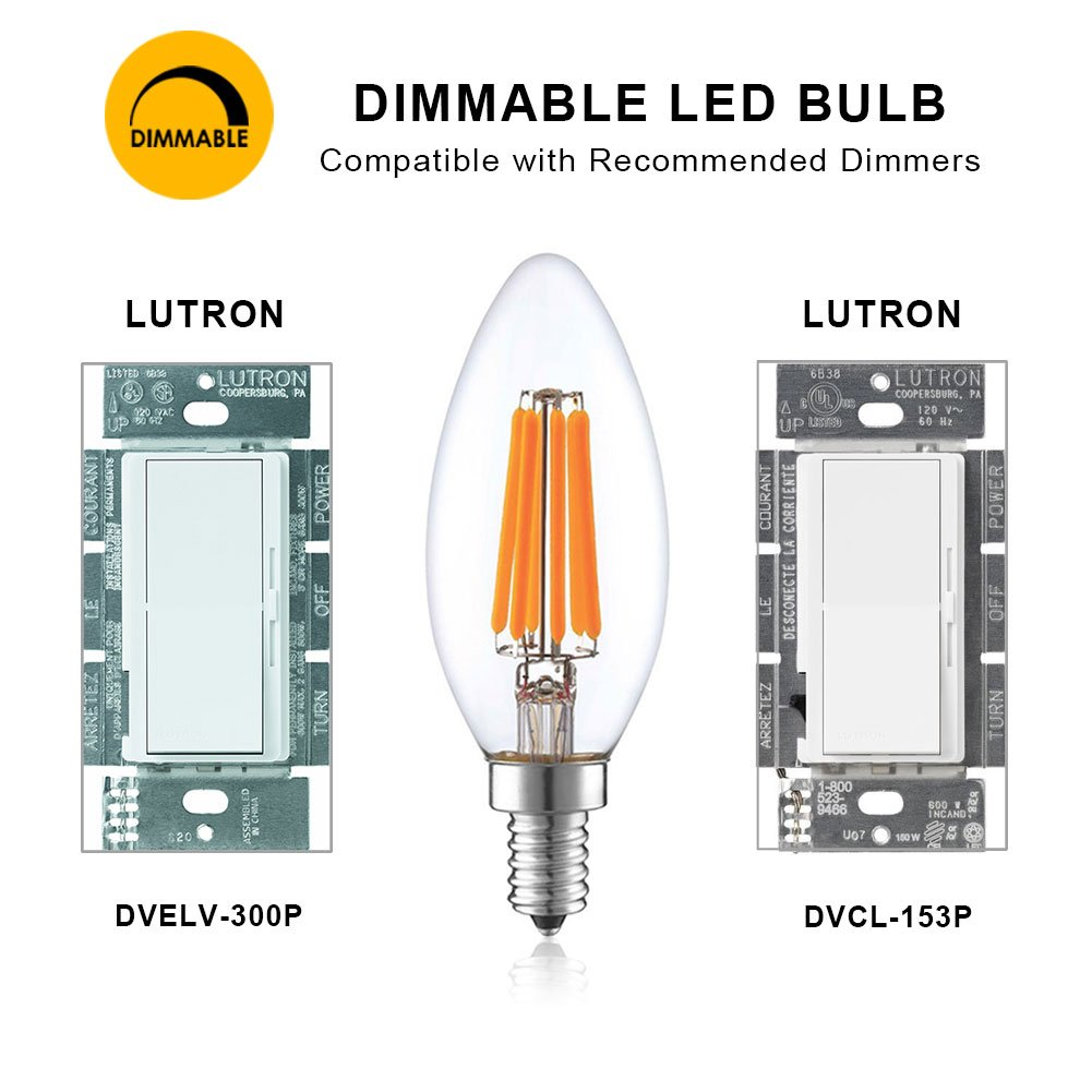 Lightstory C11 6w Led Candelabra Bulb 60w Equivalent E12 In Addition Electronic Candle Circuits Further Simple Circuit Base 2700k Dimmable Light Ul Listed12 Pack
