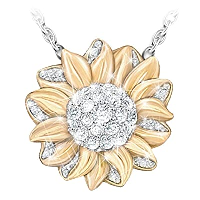 Challyhope Creative Shiny Sunflower Drop Pendant Charm Necklace Jewelry for Womens Teen Girls Nice Gift (Gold): Jewelry