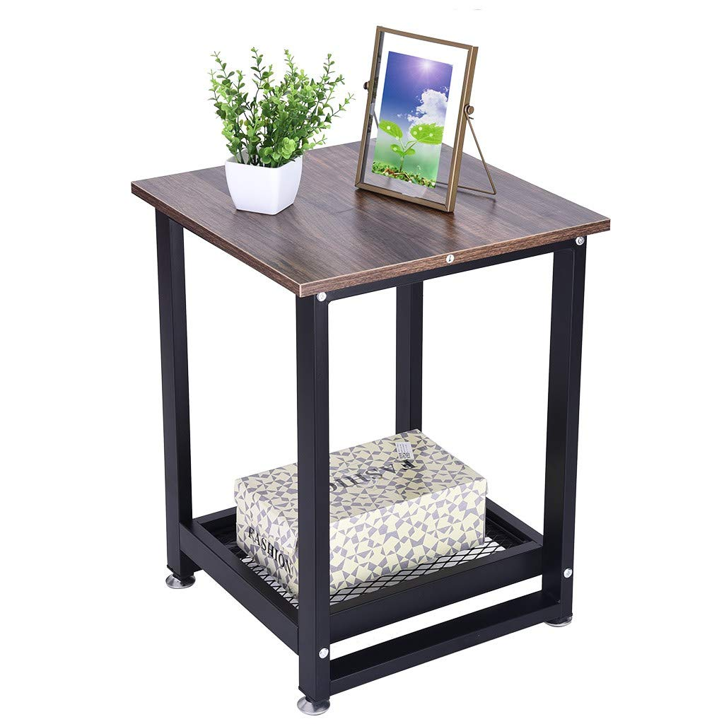 QIANSKY Industrial End Table - 2-Tier Chair Side Table Night Stand with Storage Shelf - Sturdy, Easy Assembly, Wood Look Accent Furniture, with Metal Frame, Rustic Style - for Living Room, Bedroom by QIANSKY