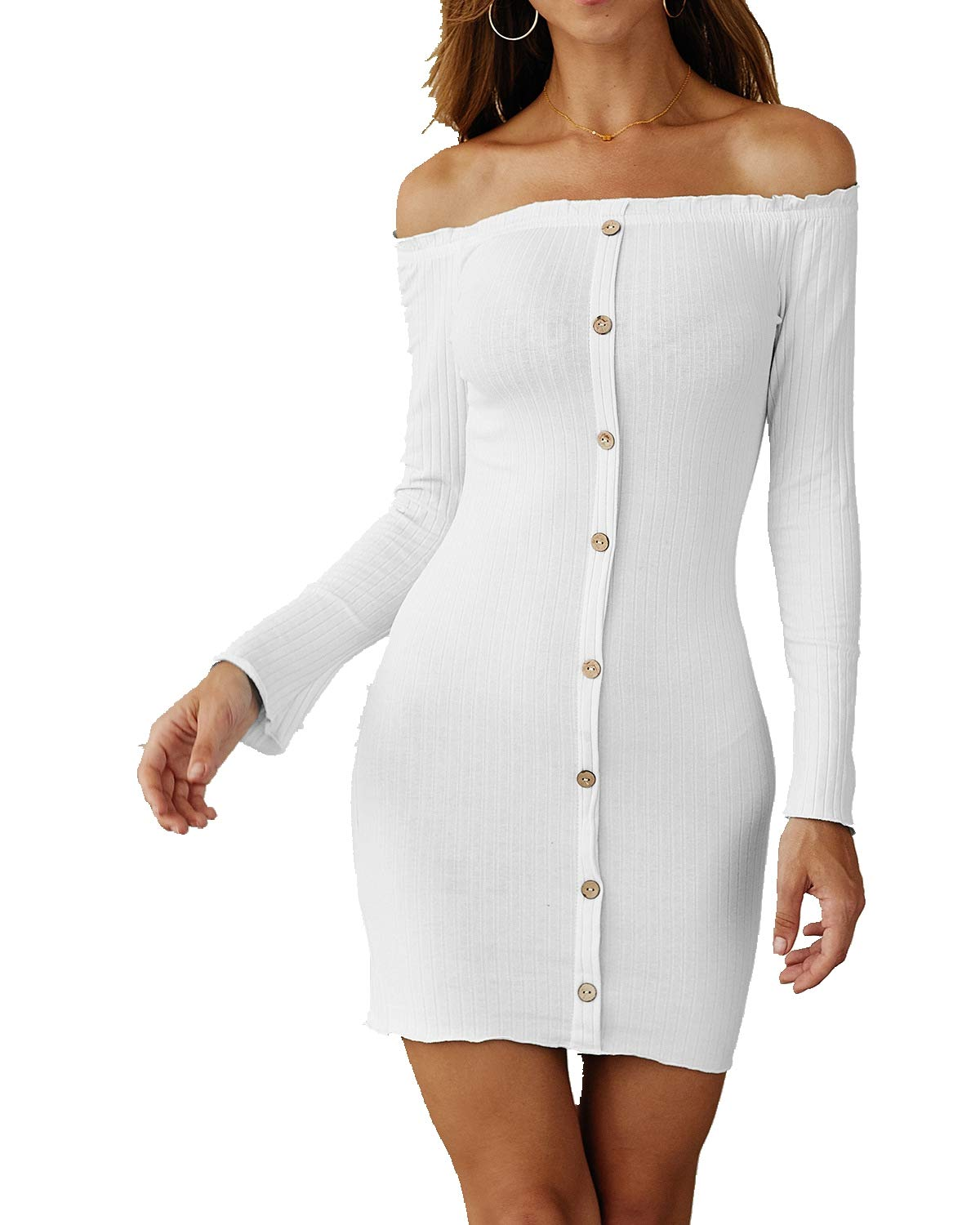 Women's Sexy Off Shoulder Knit Mini Dress,Long Sleeve Ruffle Button Down Slim Fitted Evening Bodycon Club Sweater Dresses White by KINGLEN Womens Dress
