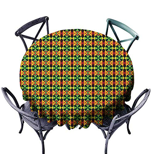 Dinning Round Tablecloth Picnic Cloth Kente Pattern,Indigenous Heritage Tile Design with Triangles and Circles Namibia Botswana, Multicolor Diameter 36
