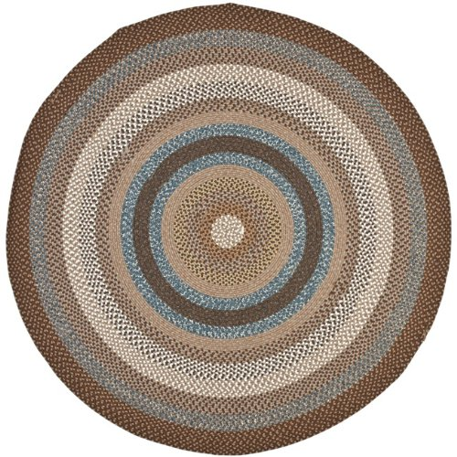 Safavieh Braided Collection BRD313A Hand Woven Brown and Multi Round Area Rug, 6 feet in Diameter (6' Diameter) BRD313A-6R