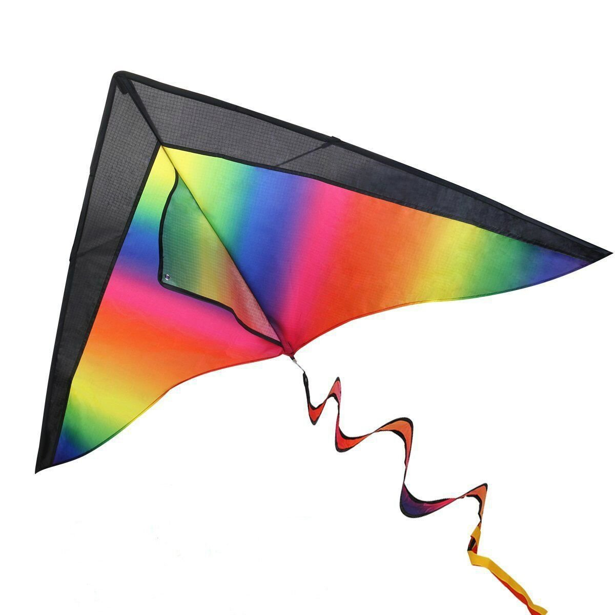 iBaseToy Huge Rainbow Kite for Kids and Adults with String & 3 Different Tails - Easy Flyer Kite for Outdoor Games Activities, 47'' x 23''