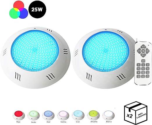 Pack 2 FOCOS + Mando} Foco de Piscina LED RGB 25W Relleno de ...