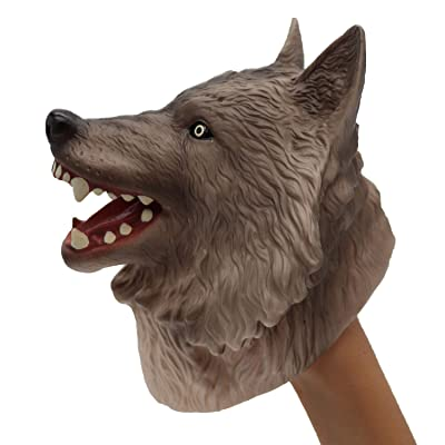 ifkoo Wolf Hand Puppet Toy , Novelty Realistic Rubber Fox Animal Head Finger Puppet for Kids (Wolf): Toys & Games