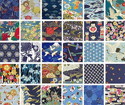 - Blue Asian Japanese Quilt Fabric Charms - 40-5 Inch Squares - Beautiful Selections