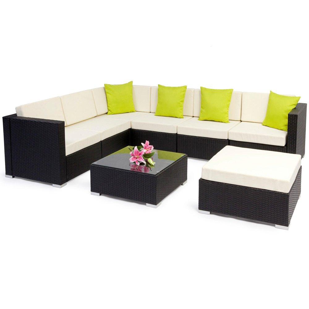 TecTake Hochwertige Aluminium Polyrattan Lounge Sitzgruppe mit Glastisch inkl. Kissen und Klemmen schwarz