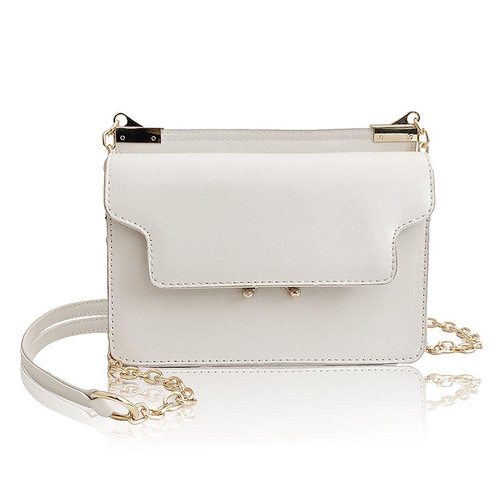 Olyphy Designer Crossbody Bag Purse for Women, Classic Box Shoulder Bag Vintage Tofu Handbag (white)