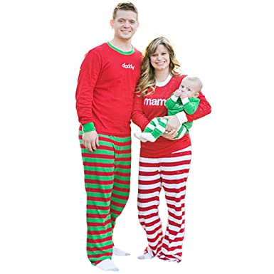9c79eca596 Family Matching Christmas Pajamas Set 2Pcs Women Men Kids Baby Tops Blouse  + Pants Mom Daddy