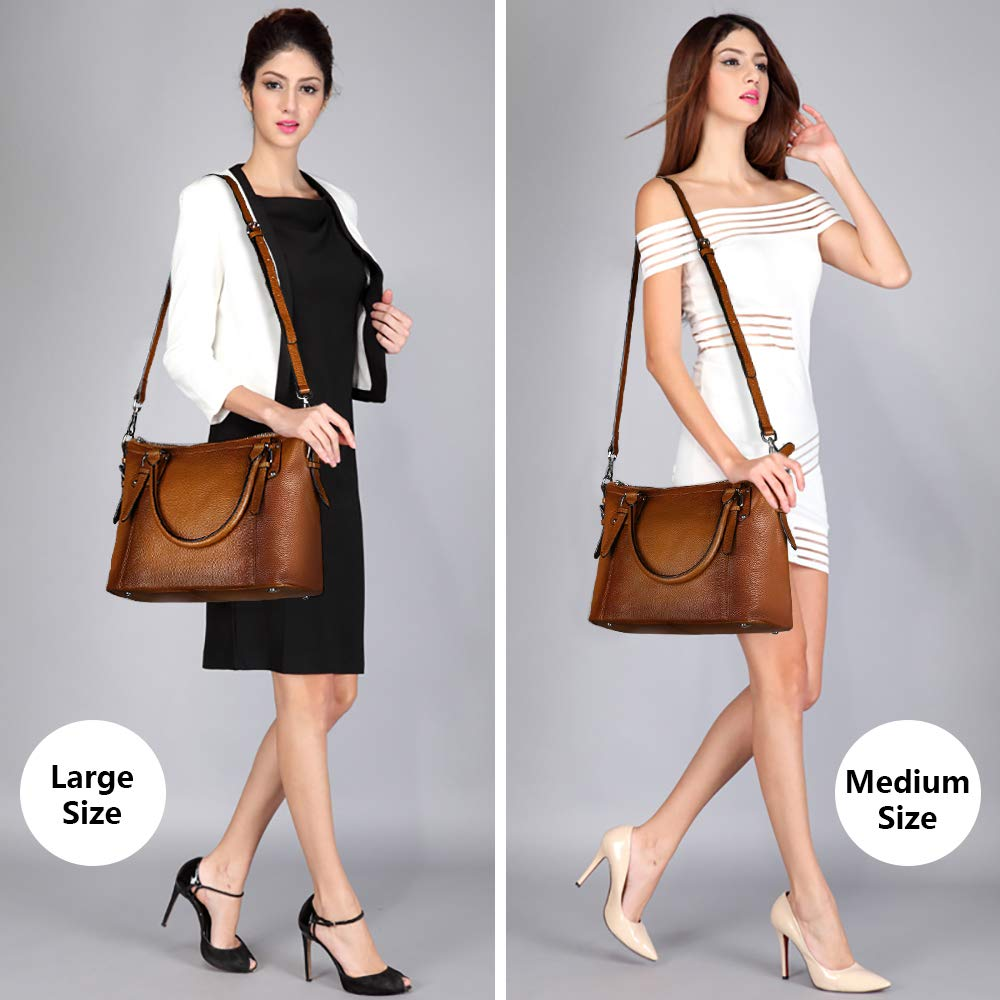 S-ZONE Women's Vintage Genuine Leather Tote Large Shoulder Bag with Outside Pocket (Large, Dark Brown) by S-ZONE (Image #7)
