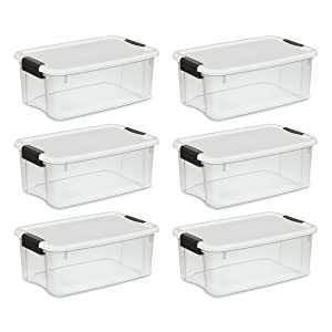 Sterilite 19849806 18 Quart/17 Liter Ultra Latch Box, Clear with a White Lid and Black Latches, 6-Pack