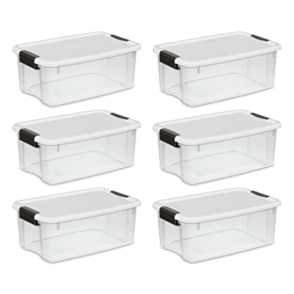 High Quality Sterilite 19849806 18 Quart/17 Liter Ultra Latch Box, Clear With A White Lid