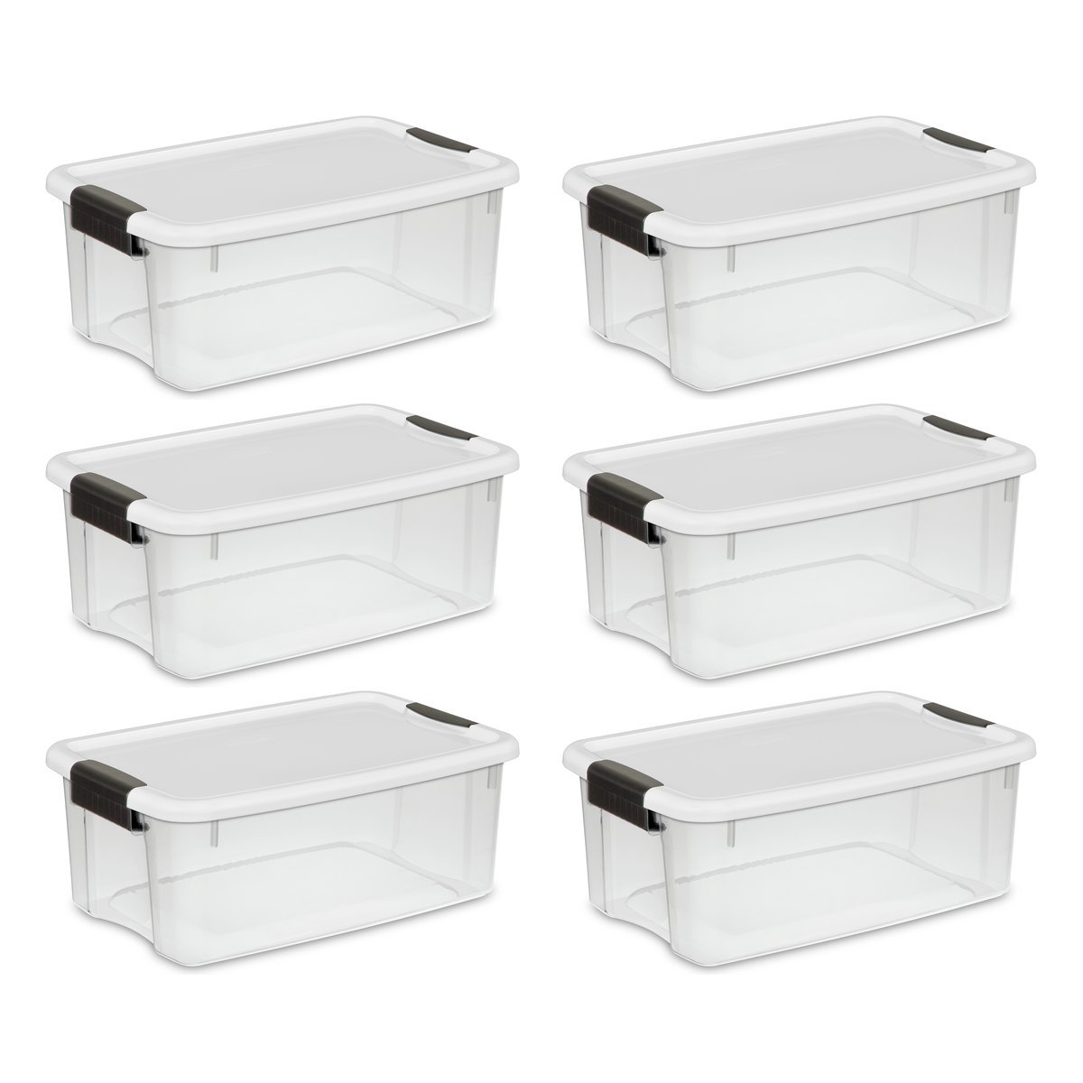 Sterilite 19849806 18 Quart/17 Liter Ultra Latch Box, Clear with a White Lid and Black Latches, 6-Pack by STERILITE
