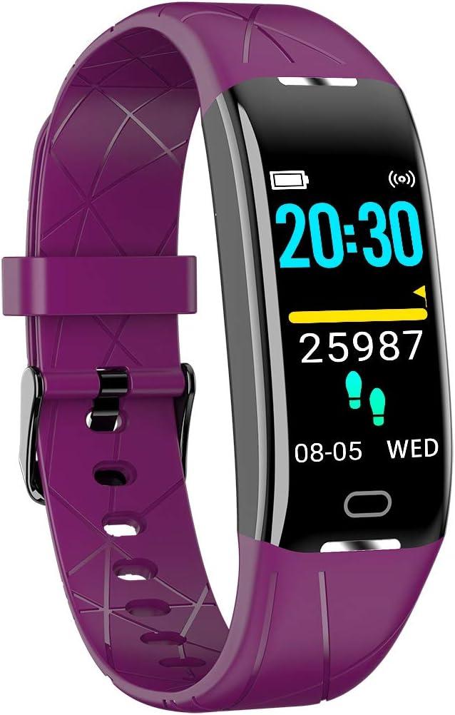 MTSBW Pulsera Inteligente Pantalla a Color Dinámica UI Monitor de Ritmo cardíaco IP67 Deportes a Prueba de Agua Rastreador de Pulsera Pulsera para Hombres y Mujeres,Purple