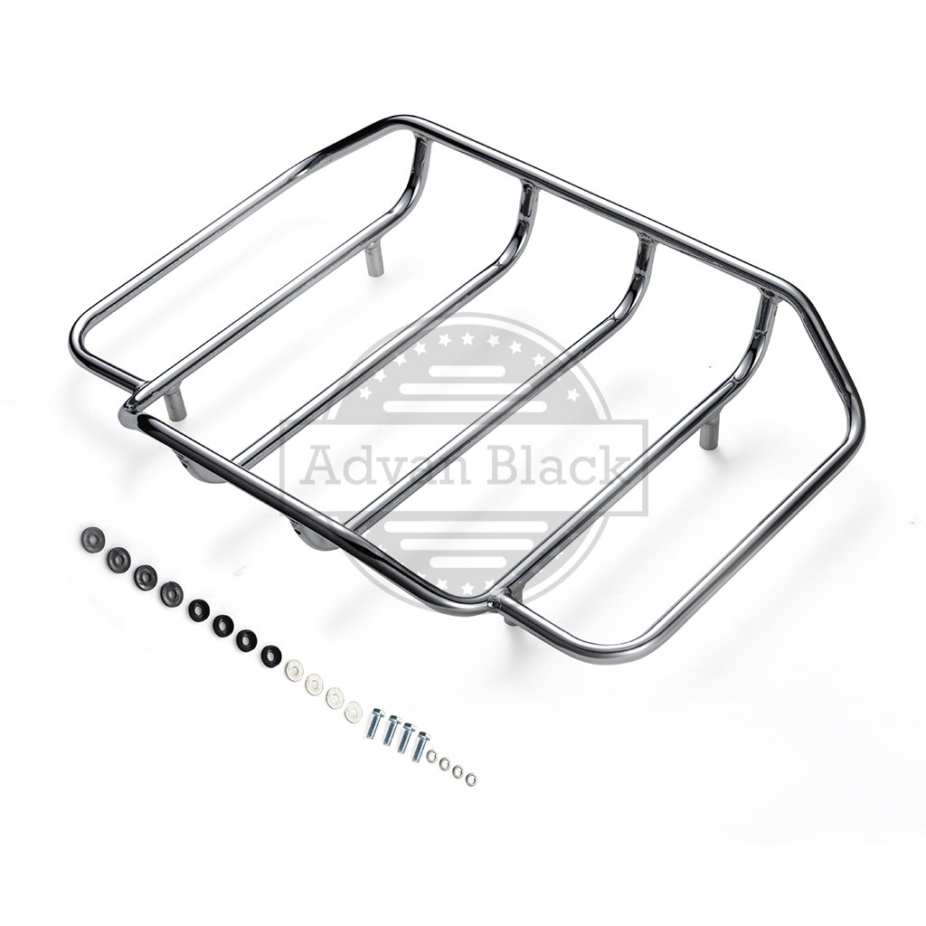 Ready to Ship! Air Wing Tour Paks Pack Luggage Rack Fit for 2014 2015 2016 2017 2018 Harley Davidson/Advanblack Hard Tour Pack Luggage Trunk Suitcase (Chrome)