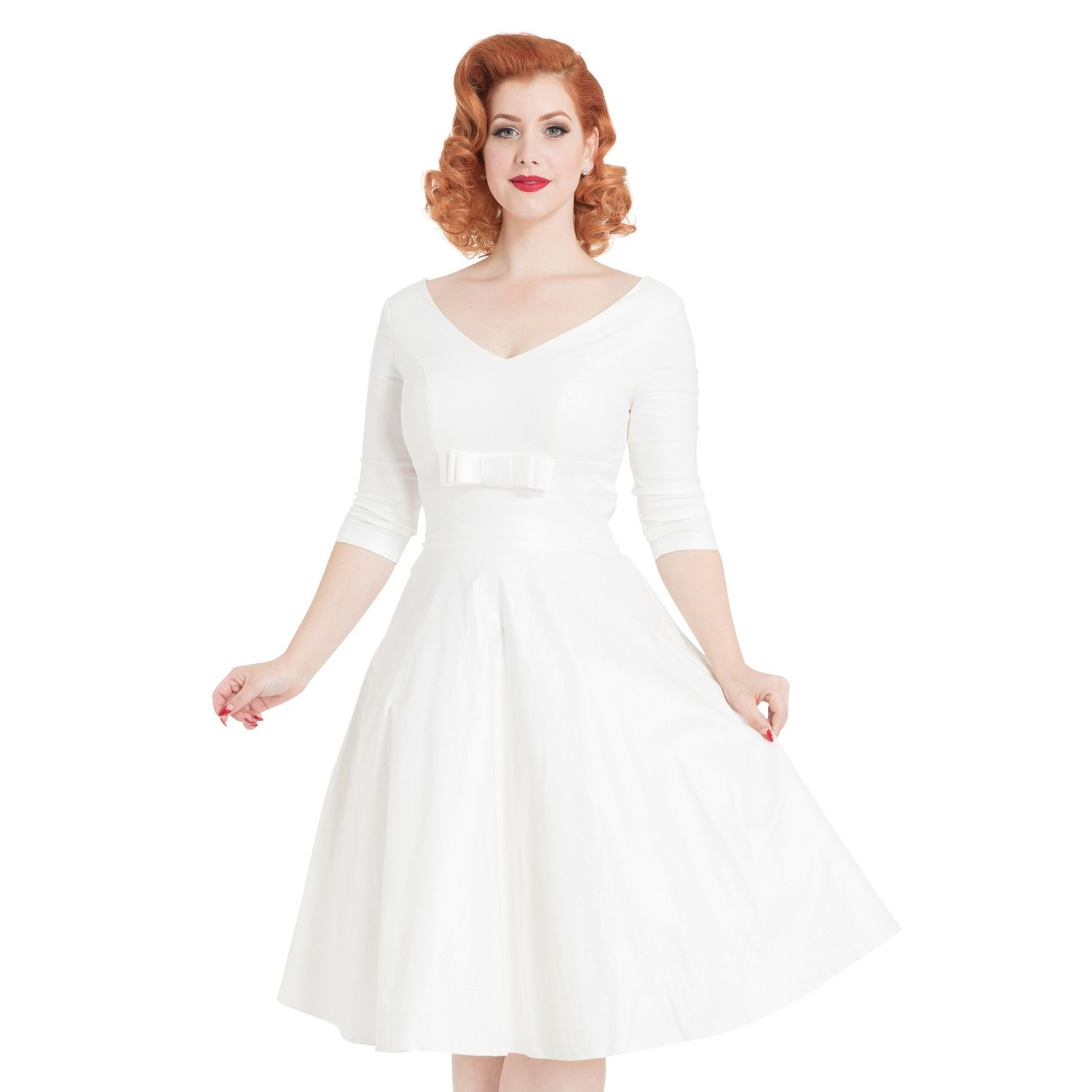 60s Wedding Dress | 1960s Style Wedding Dresses Voodoo Vixen Dorothy Ivory 1950s Retro Vintage Wedding Bridesmaid Prom Dress £89.99 AT vintagedancer.com