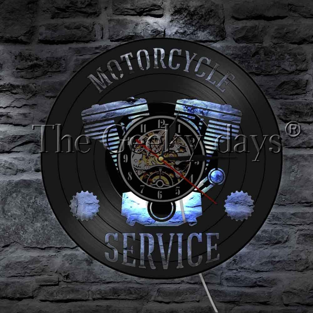 LTOOD 1 Pieza Servicio de Motocicleta Cartel de Negocios Lámpara de Mesa LED Taller de reparación de Motocicletas Disco de Vinilo Reloj de Pared Decoración de Garaje Lámpara de sueño