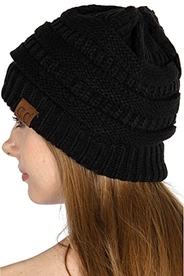 921239eb284 SERENITA Unisex Soft Stretch Knit Oversized Beanie Cap Hat Black 2 ...