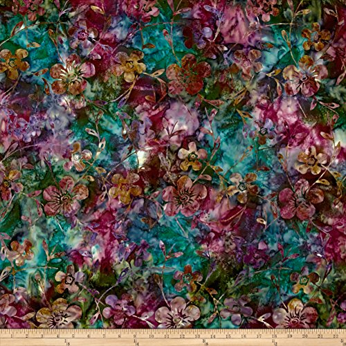 Teal Batik (Indonesian Batik Dogwood Teal Fabric By The Yard)