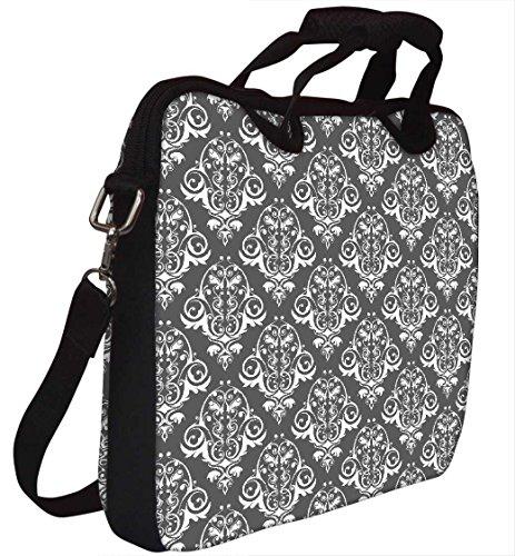 Snoogg Abstrakt Weiß Grau Muster Laptop Netbook Computer Tablet PC Schulter Case mit Sleeve Tasche Halter für Apple iPad/HP TouchPad Mini 210/Acer Aspire One und die meisten 24,6cm 25,4cm 25,7cm 25