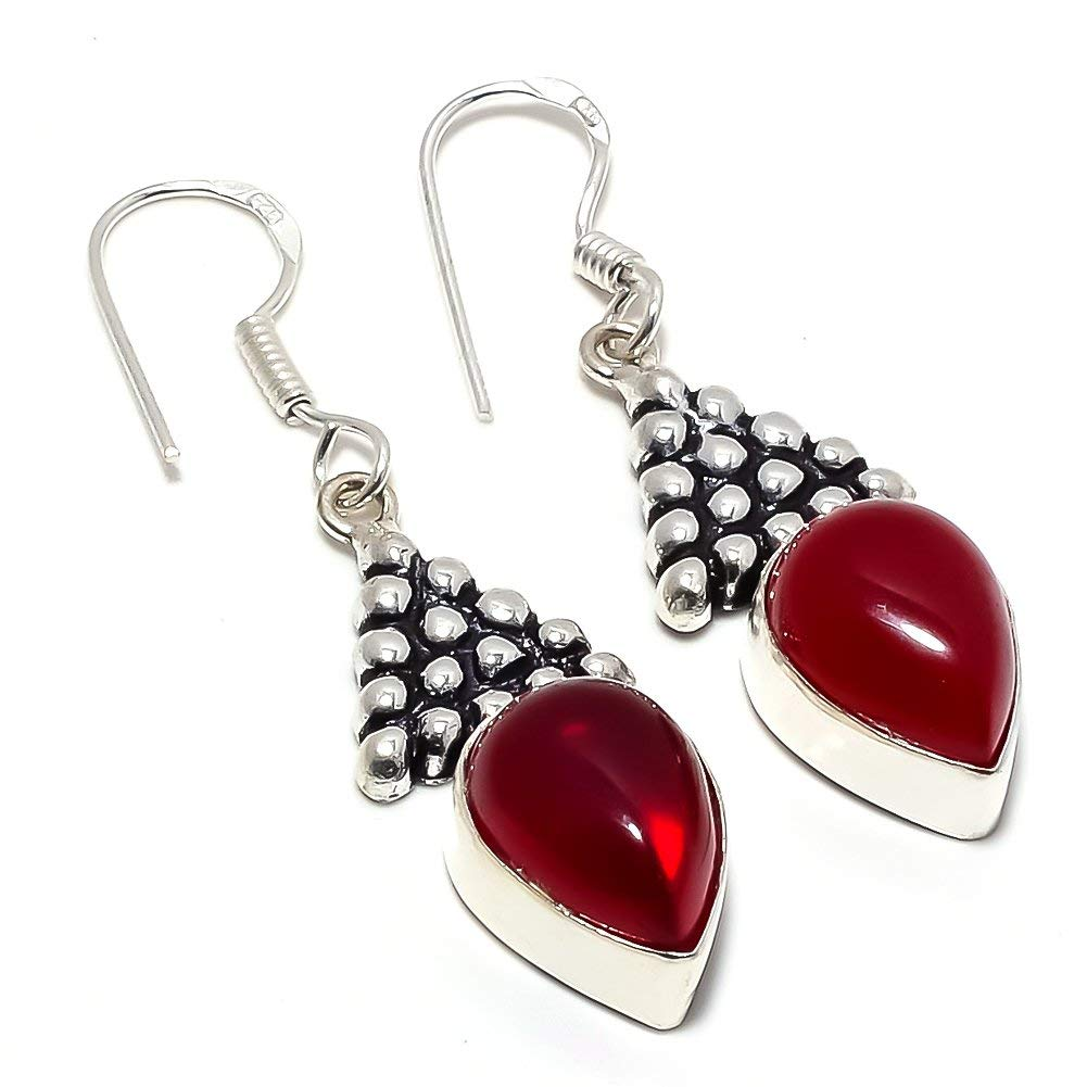 Outstanding Red Onyx Silver Plated 7 Grams Earring 1.75 Long Handmade Jewellry