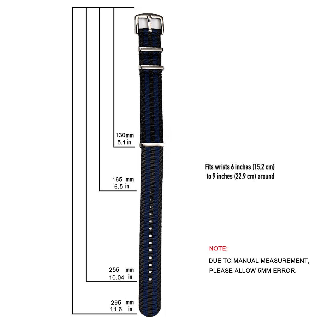 PBCODE Hombre Correa de Reloj 22mm Cinturón de seguridad Correas Nato de Nylon Correa azul para pulsera de Hebilla resistente pulida: Amazon.es: Relojes