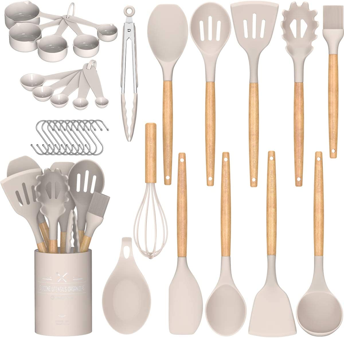 Umite Chef Kitchen Cooking Utensils Set, 24 pcs Non-stick Silicone Cooking Kitchen Utensils Spatula Set with Holder, Wooden Handle Heat Resistant Silicone...