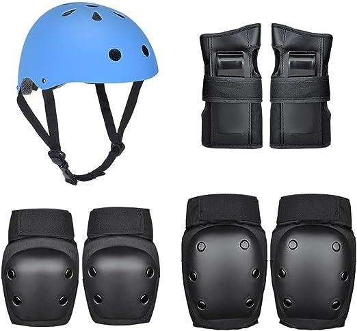 Niños Casco 7 Conjunto Ciclo Aire Tapa Seguridad A Prueba Golpes Una Pieza Moldeo Protección Bicicleta Equilibrio Engranajes/Monopatín/Patinaje sobre Ruedas/Bicicletas 3 Colores,Azul: Amazon.es: Hogar