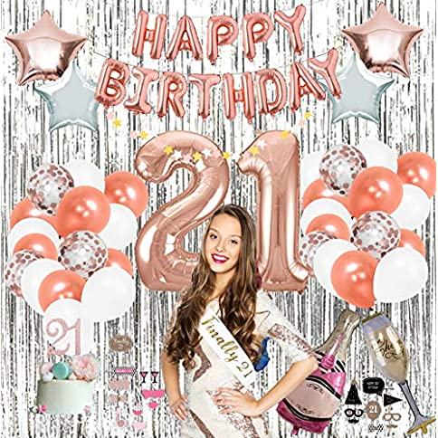 - 61yDB1 2B6C8L - 21st Party Supplies by Serene Selection, Rose Gold Birthday Decorations for Girls, Photo Booth Props, Silver Fringe Foil Curtain, Cake Topper, Happy Birthday Balloons, Sash
