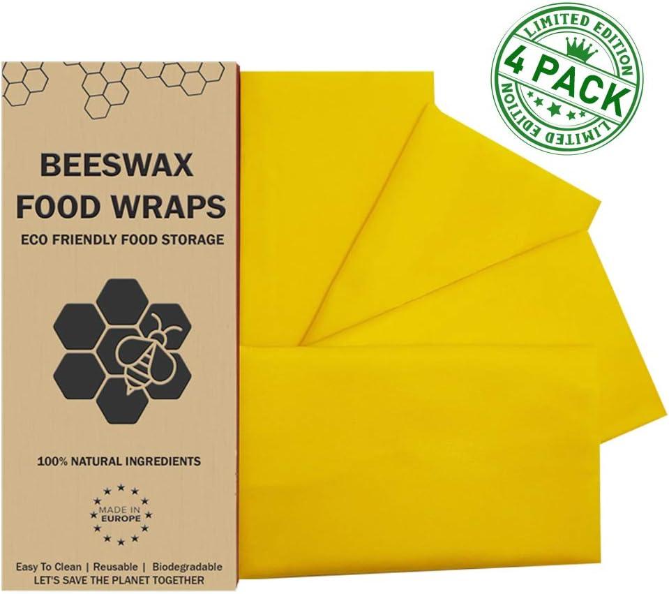 100 /% Bienenenwachs aus 100 /% Baumwolle Set mit 4 Bienenwachs Wraps,XL:40x35cm,L:35x30cm,M:25x20cm,S:20x20cm Aloe Vera /Öl und Baumharz.