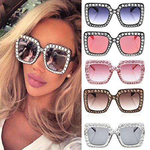Brillant Yeshi Fashion gris soleil nbsp;Lunettes classique carré de UV400 Cadre Eyewear pour Strass femme 8qwHSqrd