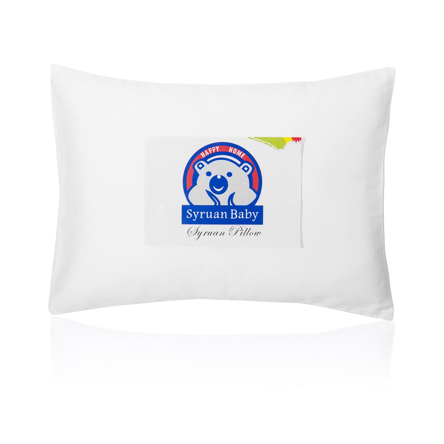 Syruan Toddler Pillow with Pillowcase - 13X18 White Organic Cotton Baby Pillows for Sleeping - Washable & Hypoallergenic- Kids,Toddlers-Perfect for Travel Pillows