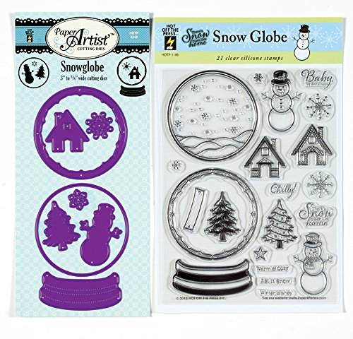 Coordinating Clear Silicone Stamps and Cutting Die Set by Hot Off The Press   Scrapbooking, Card Making, Gifts and Home Décor - Inspiration to Create (Snow Globe)]()