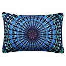 Sleepwish Moonlight Mandala Pillow Case Bohemia Design Dark Blue Decorative Pillowcase Bedding (20 X 30 Inches)