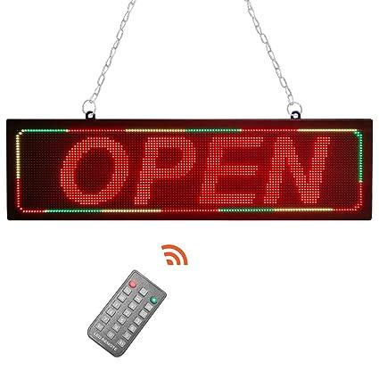 Letrero abierto LED de 21 x 6 pulgadas para negocios ...