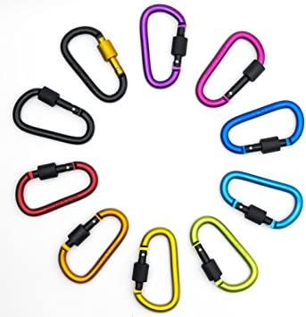 10 X Chain Cable Carabiner Key Ring Lock Holder Camping Clip Hiking Hook