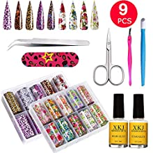 Nail Art Foil Glue Gel with Starry Sky Star Foil Stickers Set - Suncharm Holographic Nail Art Tips Transfer Stickers DIY Decoration, UV LED Lamp Required …